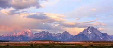 teton США парка грандиозного соотечественника панорамное осматривает Вайоминг Стоковые Изображения