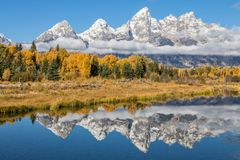 Teton Autumn Landscape Reflection. A scenic reflection of  the Tetons in Wyoming in fall Stock Photos