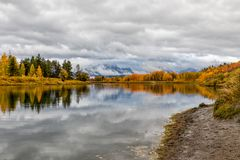 Teton Autumn Reflection at Oxbow Bend Stock Images