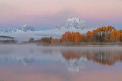 Teton Autumn Sunrise Reflection Landscape fotografia de stock royalty free