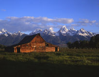 Teton Barn. A barn in a field with the Teton Mountains in the background Royalty Free Stock Photos