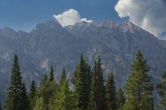 Teton berg, blå himmel och gräsplan sörjer, Jackson Hole, Wyoming Royaltyfri Foto