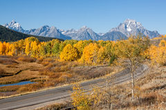 Teton Fall Landscape and Highway Stock Photography