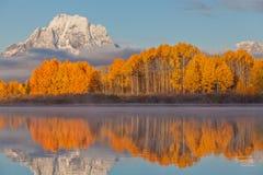 Teton Fall Landscape Reflection Royalty Free Stock Photography