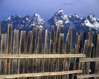 Teton Fence. A wooden fence that mirrors the mountains behind it stock photography