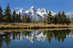 Teton Mountain Range. Reflecting in river water with surrounding rocks and plants Stock Photo