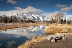 Teton Mountain Range Snake River Sitting Area Stock Image