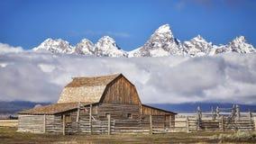 Teton mountain range with Moulton Barn in the Grand Teton National Park. Royalty Free Stock Images