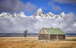 Teton mountain range with Moulton Barn. Royalty Free Stock Photos