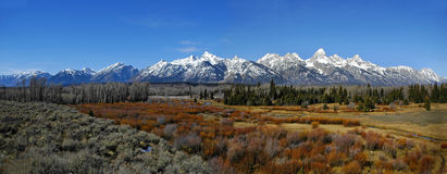 Teton Mountain Range Panorama. With sky and trees Stock Photos