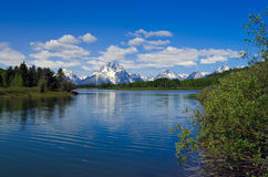 Teton Mountain Range from the Snake River Stock Photos
