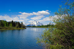 Teton Mountain Range from the Snake River Stock Photography