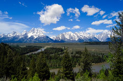 Teton Mountain Range from the Snake River Royalty Free Stock Photos