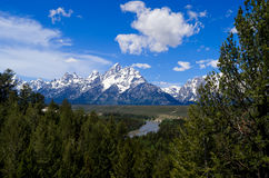 Teton Mountain Range from the Snake River. Crossing Stock Images