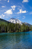 Teton Mountain Range from the Snake River. Crossing Royalty Free Stock Images