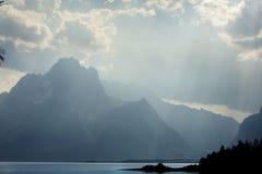 Teton Mountains, curtain of sun rays, Jackson Hole, Wyoming. Royalty Free Stock Image