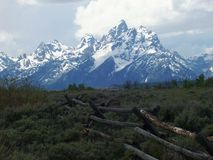 The Teton Mountains near Jackson Hole Wyoming. The Tetons near Jackson Hole Wyoming are some of the most majestic mountains in the United States.  The snow Stock Photo