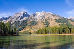 Teton Mountains near String Lake stock images