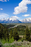 The Teton Mountains Rising behind the Snake River. In the Grand Teton National Park Royalty Free Stock Photo