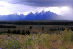 Teton Mountains Storm Royalty Free Stock Photo