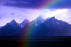 Teton Mountains Storm adn Rainbow Stock Photos