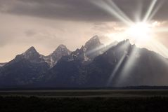 Teton Mountains Storm and Sunshine Royalty Free Stock Photography