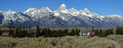 Teton Mountains with tourists looking Stock Photography