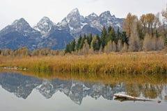 Teton område med spegelreflexion royaltyfri foto