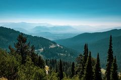The view from the Teton Pass, Wyoming royalty free stock photo