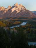 Teton Range from Ansel Adams Overlook Stock Photo
