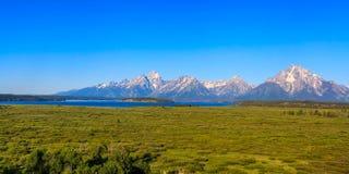 Teton Range on Jackson Lake Stock Photo