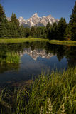 Teton Range Reflected Smooth Water Grand Teton's National Park Royalty Free Stock Photo