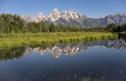 Teton Range Reflected Smooth Water Grand Teton's National Park Royalty Free Stock Photography