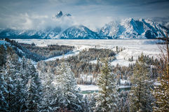 Teton range seen from the Snake river overlook Stock Image