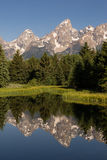 Teton Range Smooth Water Reflecting Grand Teton's National Park Stock Photo