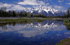Teton Reflection 2. Tetons Reflected In Snake River, Wyoming Royalty Free Stock Photo