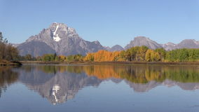 Teton Reflection at oxbow Bend in Fall stock video