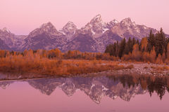 Teton Reflection at Sunrise Stock Photo
