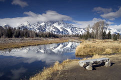 Log Bench Snale River Grand Tetons Royalty Free Stock Images