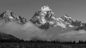 Teton-Sonnenaufgang, Nebel Lizenzfreies Stockbild
