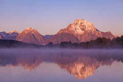 Teton Sunrise Autumn Reflection Royalty Free Stock Photos