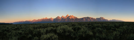 Teton sunrise panorama Royalty Free Stock Image