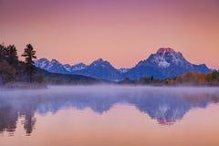 Teton Sunrise Reflection Stock Image