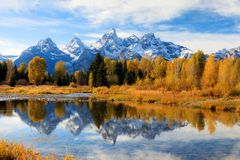 Teton Valley in the Fall. A beautiful Fall scene in Teton Valley Stock Photo