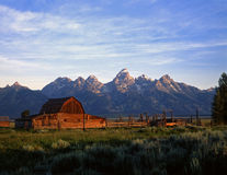 TetonRanch#2. A barn and corral at the base of the Teton Mountain Range in Grand Teton National Park, Wyoming Royalty Free Stock Photography