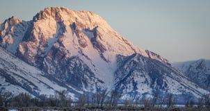 Tetons和登上Moran在早晨Alpenglow 图库摄影