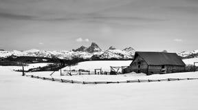 Tetons和谷仓冬天雪 免版税图库摄影