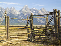 Tetons Corral Gate, Wyoming stock photography
