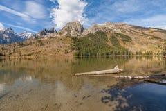 Tetons dans l'automne reflété dans le lac string photographie stock libre de droits