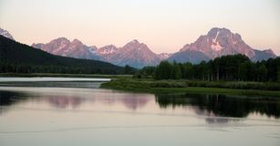 Tetons Early Morning Reflection Stock Photos